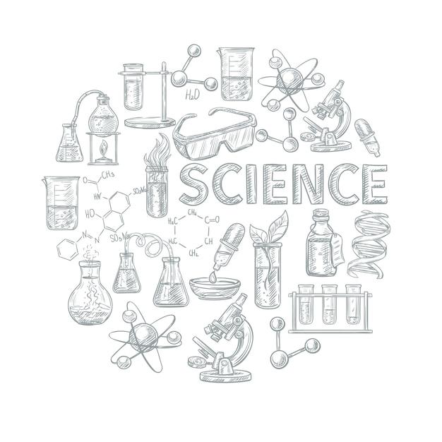 Conceito de desenho de química com aprendizagem escolar e símbolos de ciência Vetor grátis