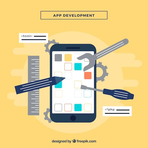 Conceito de desenvolvimento de aplicativos com deisng plana Vetor grátis