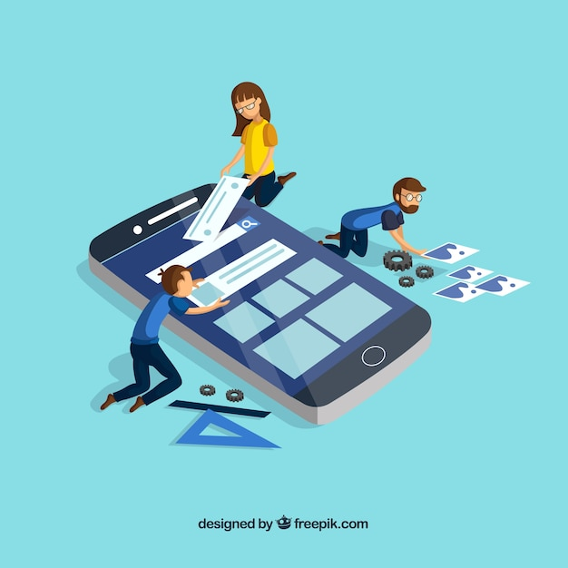 Conceito de desenvolvimento de aplicativos com design plano Vetor grátis