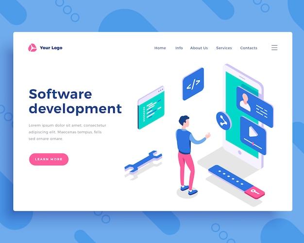 Conceito de desenvolvimento de software Vetor Premium
