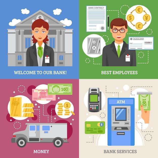Conceito de design 2x2 de serviços bancários Vetor grátis