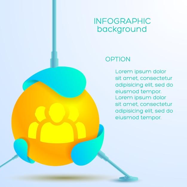 Conceito de design abstrato infográfico com texto de bola laranja e ícone de equipe Vetor grátis