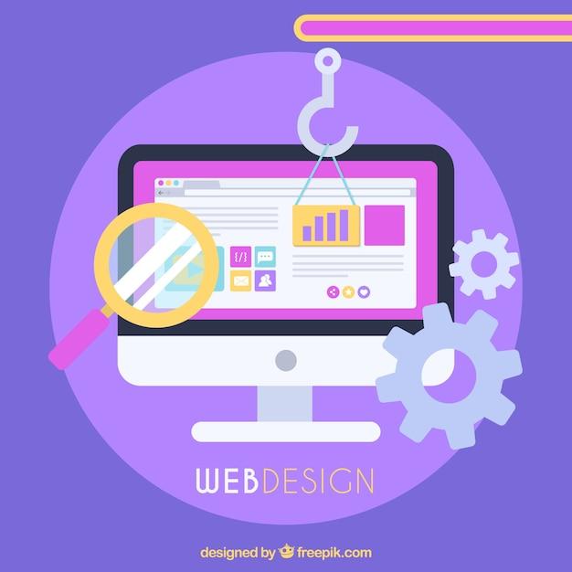 Conceito de design da web com design plano Vetor grátis