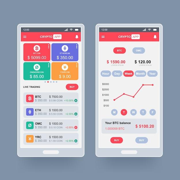 Conceito de design de aplicativo de criptomoeda Vetor Premium