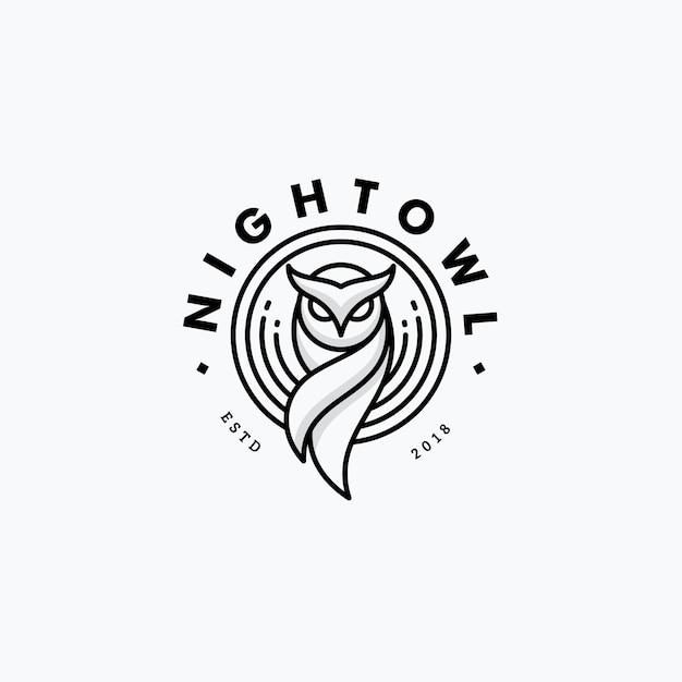 Conceito de design de arte linha coruja nigh Vetor Premium