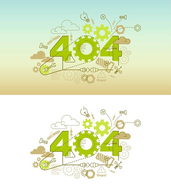 Conceito de design de banner de site 404 Vetor Premium