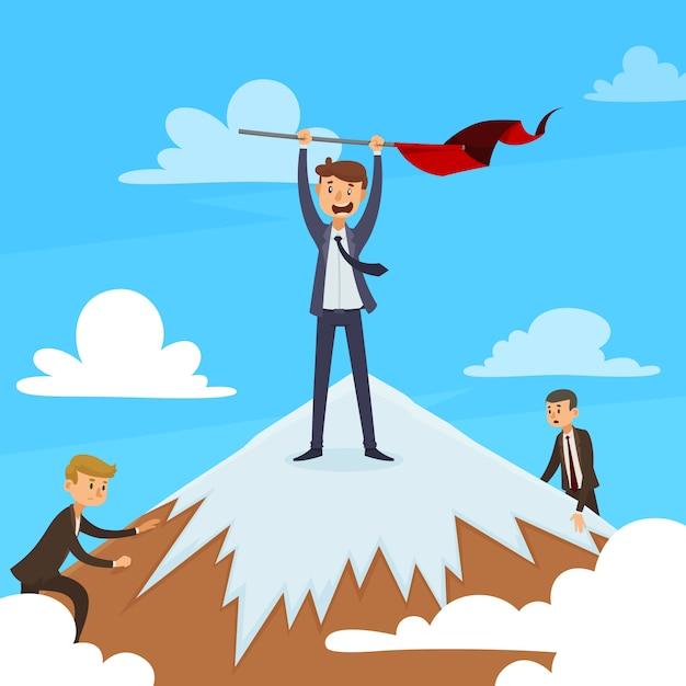 Conceito de design de carreira bem sucedida com vencedor no topo da montanha e concorrentes na ilustração em vetor fundo azul céu Vetor grátis