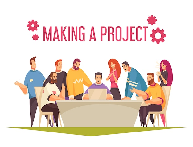 Conceito de design de coworking com grupo de pessoas trabalhando em equipe e fazendo ilustração comum do projeto Vetor grátis