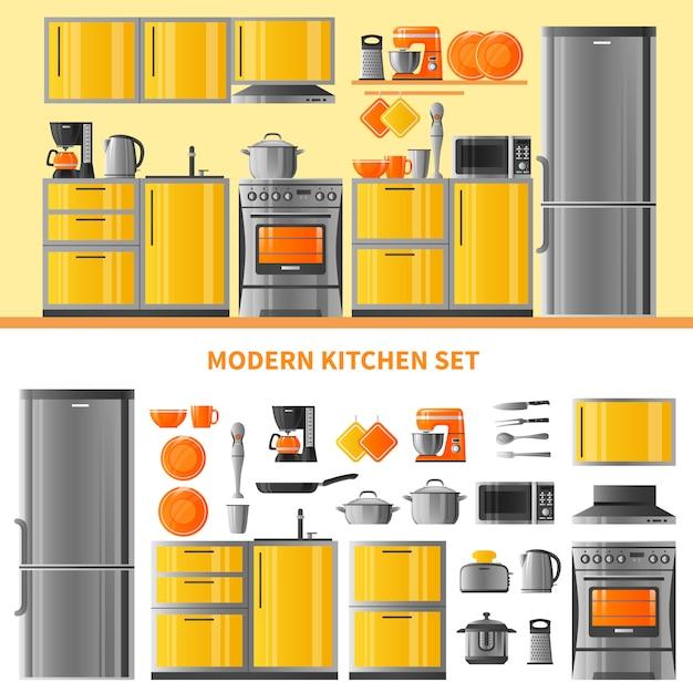 Conceito de design de cozinha com técnica doméstica Vetor grátis