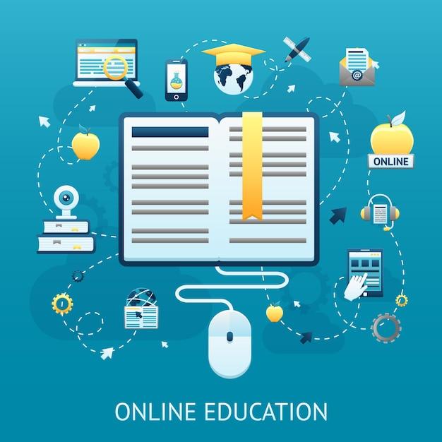 Conceito de design de educação online Vetor grátis