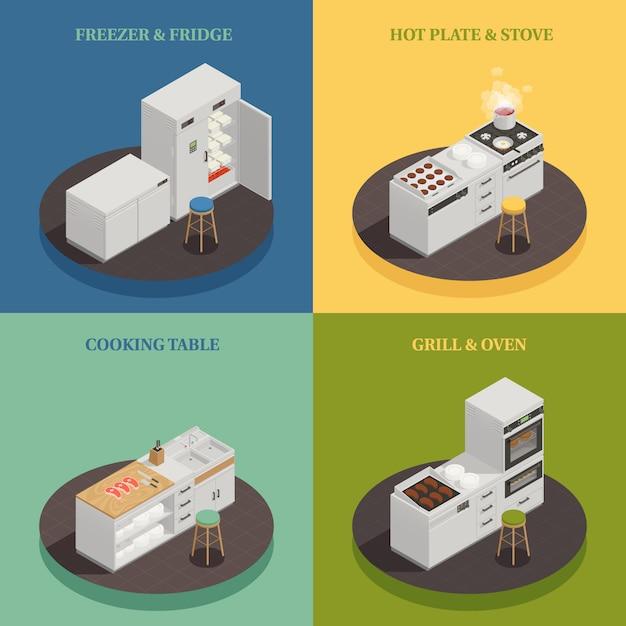 Conceito de design de equipamentos de cozinha Vetor grátis