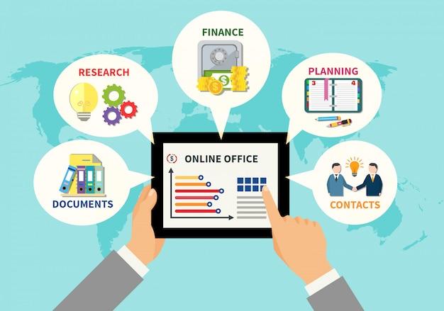 Conceito de design de escritório on-line Vetor grátis