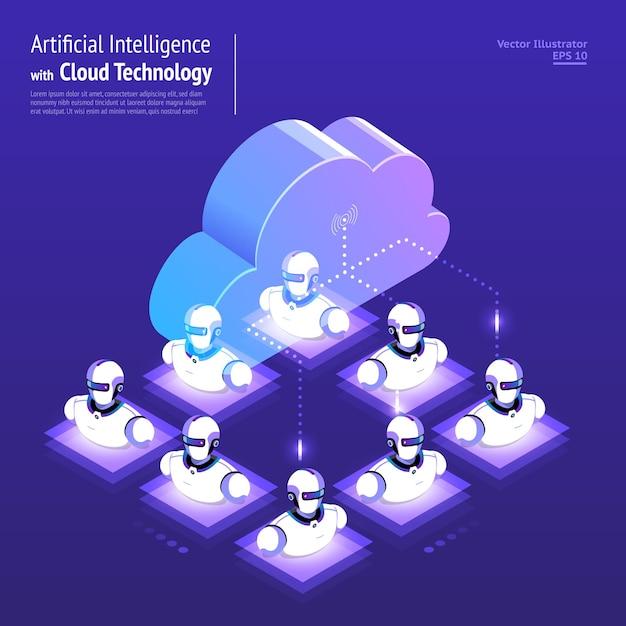 Conceito de design de ilustrações de rede digital com tecnologia de nuvem e inteligência artificial Vetor Premium