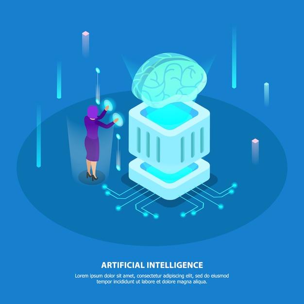 Conceito de design de inteligência artificial com super chip de computador e ícones de brilho isométrico de cérebro robótico digital Vetor grátis