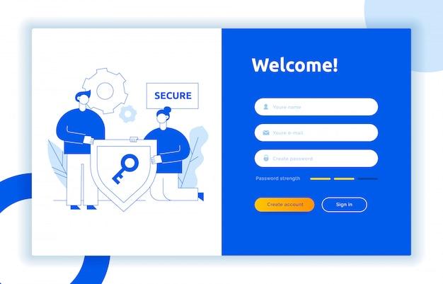 Conceito de design de interface de usuário ux de login e ilustração Vetor Premium