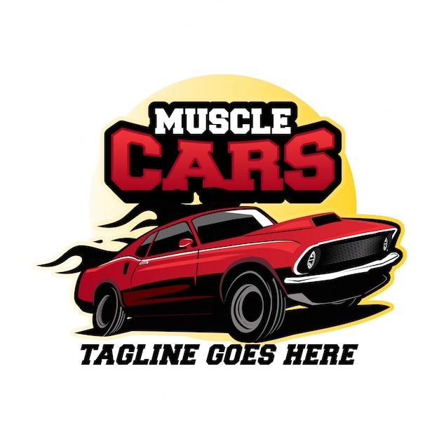 Conceito de design de logotipo de carros do músculo Vetor Premium