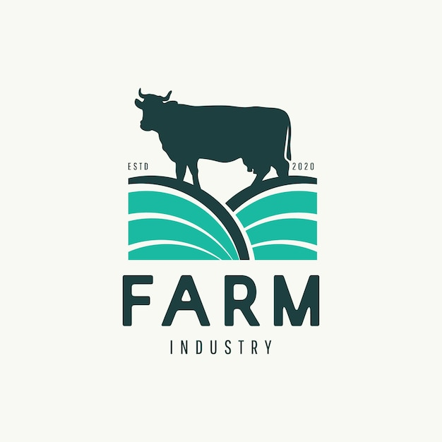 Conceito de design de logotipo de fazenda de vacas moderno. Vetor Premium