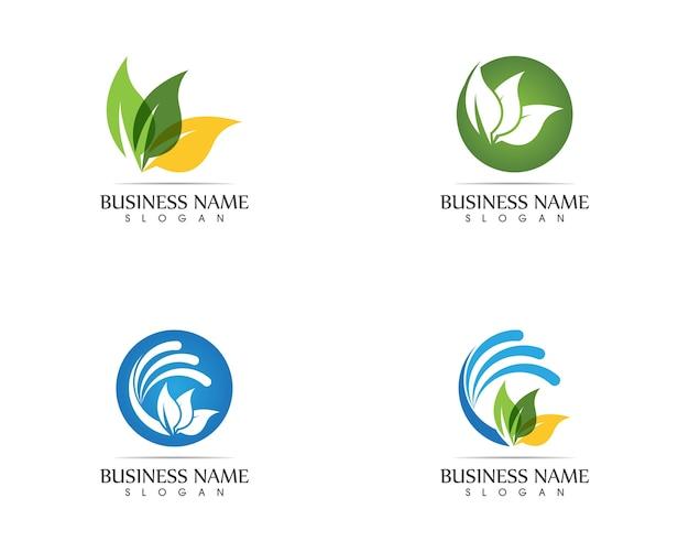 Conceito de design de logotipo de folha de natureza Vetor Premium
