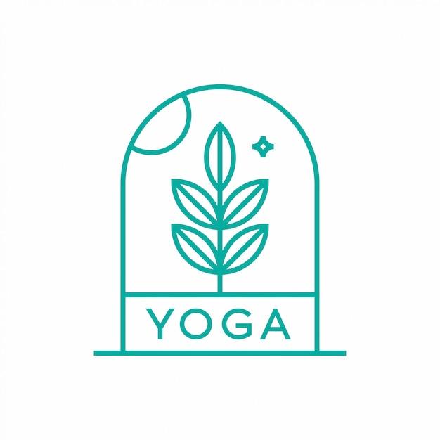 Conceito de design de logotipo de ioga de natureza. Vetor Premium