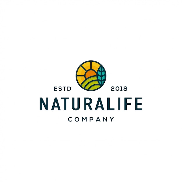 Conceito de design de logotipo de natureza. logotipo da natureza universal. Vetor Premium