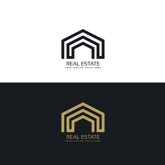 Conceito de design de logotipo imobiliário linha mínima Vetor grátis
