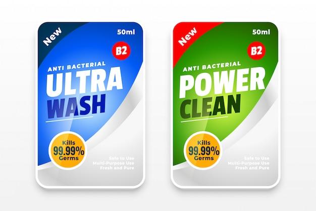 Conceito de design de modelo de desinfetante e limpador de duas etiquetas Vetor grátis