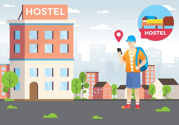 Conceito de design de pesquisa de hotéis e reservas on-line Vetor Premium