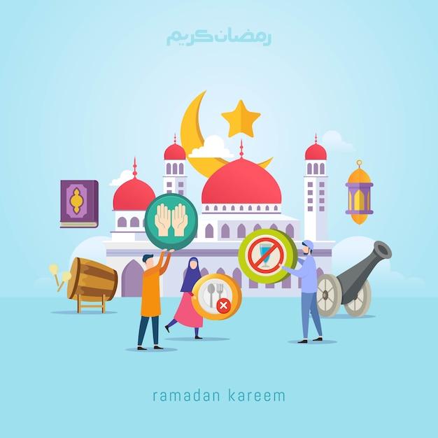 Conceito de design de ramadan kareem com pessoas pequenas Vetor Premium