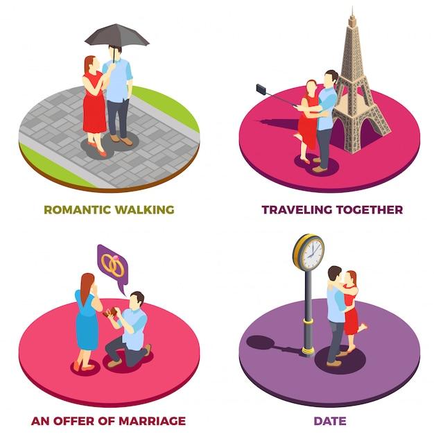 Conceito de design de relacionamento romântico 2x2 Vetor grátis