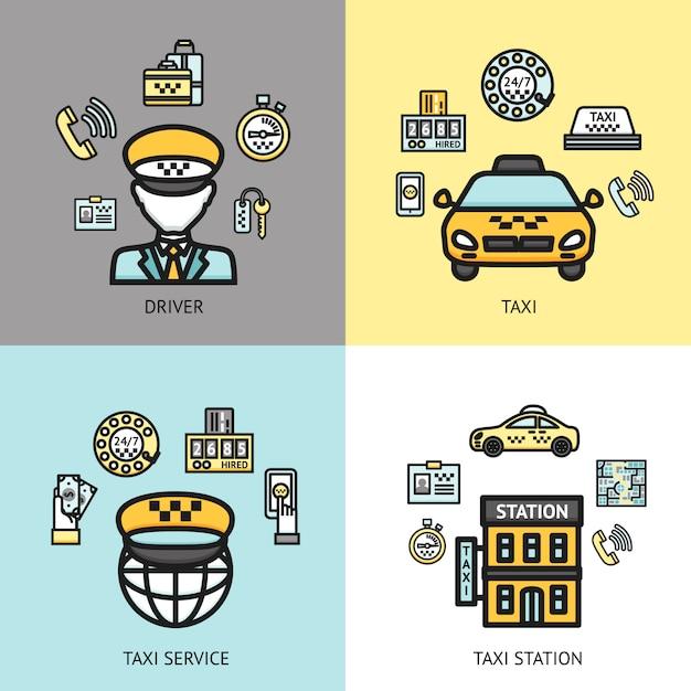 Conceito de design de serviço de táxi plana Vetor grátis