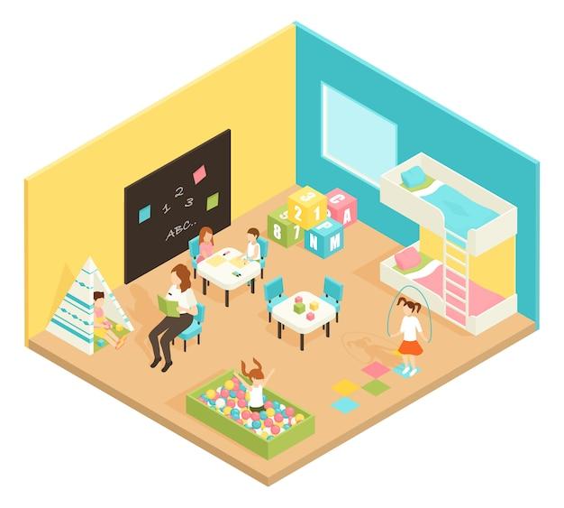 Conceito de design isométrica de sala de brincar de jardim de infância Vetor grátis