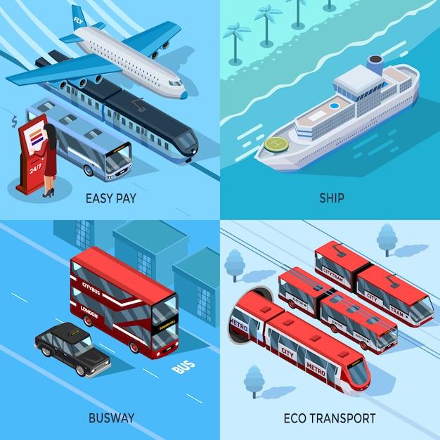 Conceito de design isométrico 2x2 de transporte de passageiros Vetor grátis