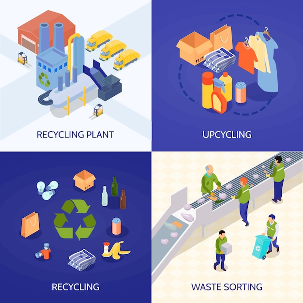Conceito de design isométrico de reciclagem de lixo Vetor grátis