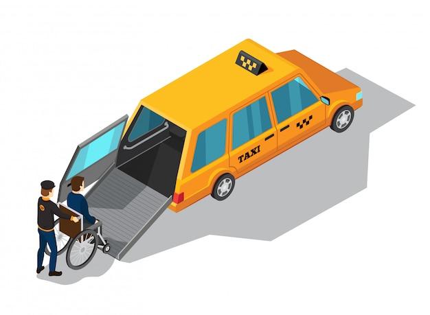 Conceito de design isométrico de serviço de táxi com carro de táxi amarelo projetado para o transporte de pessoas Vetor grátis