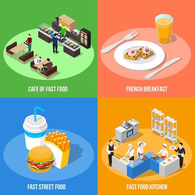 Conceito de design isométrico fast food 2x2 Vetor grátis