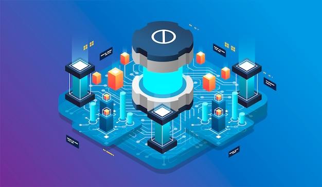 Conceito de design isométrico realidade virtual e realidade aumentada. desenvolvimento e programação de software Vetor Premium