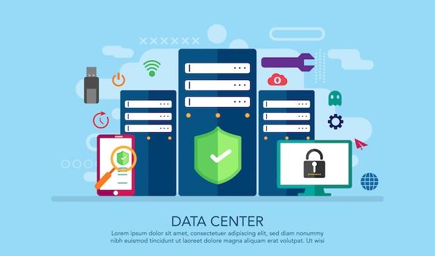 Conceito de design plano data server center, fundo de conceito de página de aterragem Vetor Premium