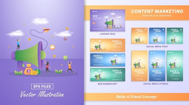 Conceito de design plano de indicar um amigo. as pessoas convidam amigos para participar, um programa de indicação para ganhar dinheiro e prêmios impossíveis. Vetor Premium