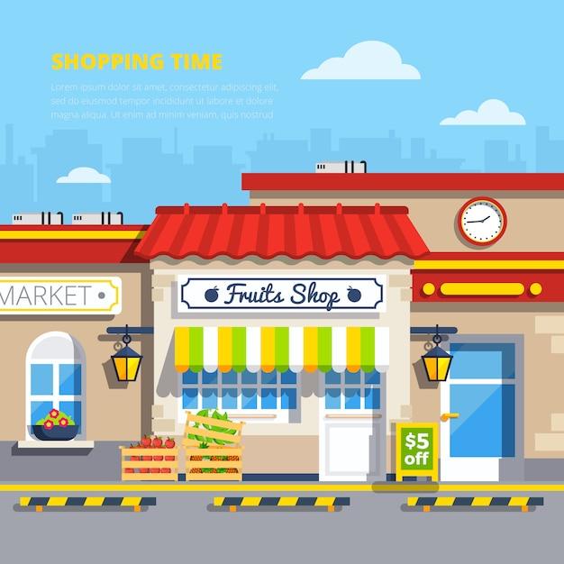 Conceito de design plano de lojas de rua Vetor grátis