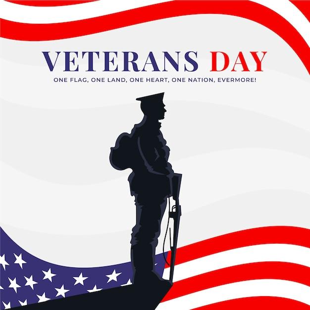 Conceito de design plano do dia dos veteranos Vetor Premium