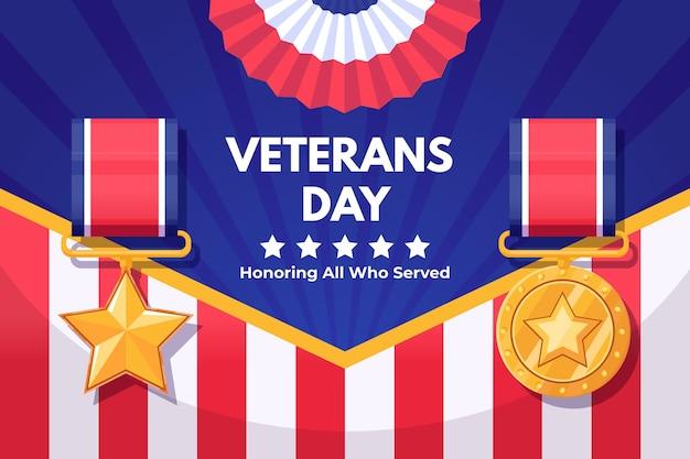 Conceito de design plano do dia dos veteranos Vetor grátis