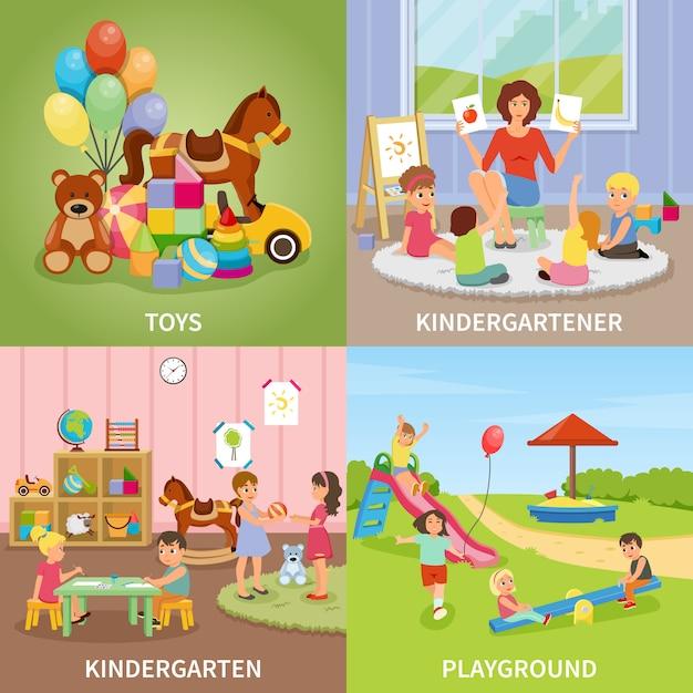 Conceito de design plano do jardim de infância Vetor grátis