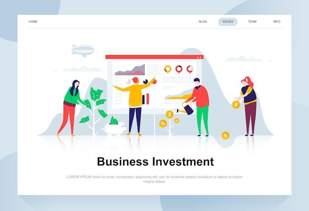 Conceito de design plano moderno de investimento empresarial. Vetor Premium