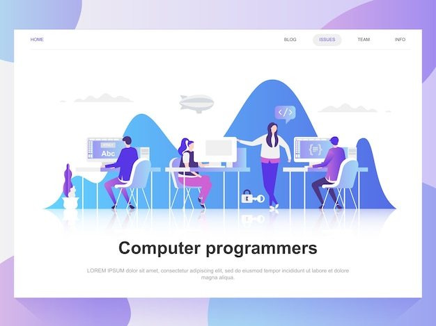 Conceito de design plano moderno de programadores de computador. Vetor Premium
