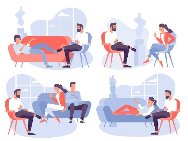 Conceito de design plano para sessão de psicoterapia. paciente com psicólogo, consultório de psicoterapeuta. sessão de psiquiatra em clínica de saúde mental. Vetor Premium