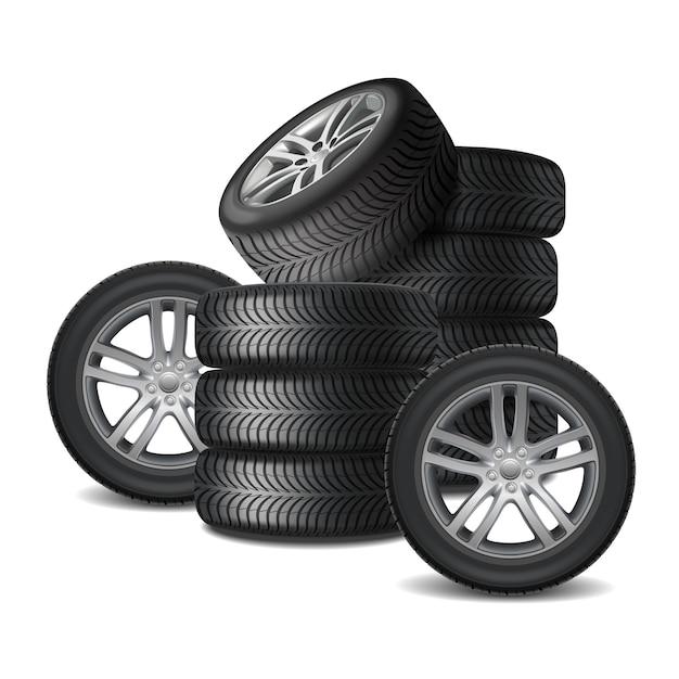Conceito de design realista de rodas de carro Vetor grátis