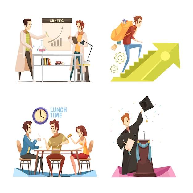 Conceito de design retrô dos desenhos animados de estudantes Vetor grátis