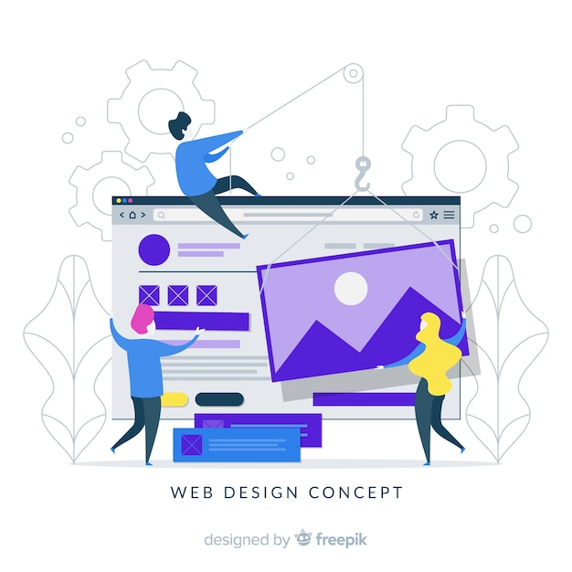 Conceito de design web colorido com design plano Vetor grátis