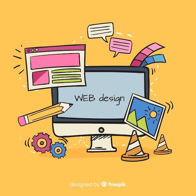 Conceito de design web linda mão desenhada Vetor grátis