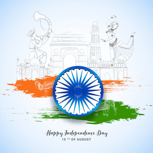 Conceito de dia da independência indiana. Vetor Premium